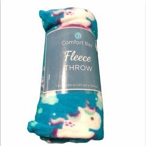 Comfort bay fleece unicorn throw 50 x 60